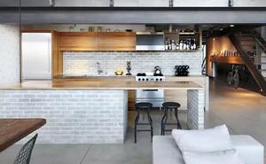 后现代风格跃层开放式厨房装修效果图