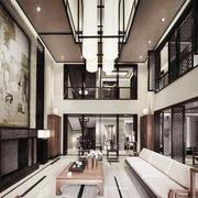 中式风格复式楼中空客厅吊顶装修效果图