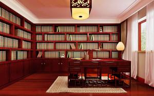 中式风格别墅书房博古架设计效果图