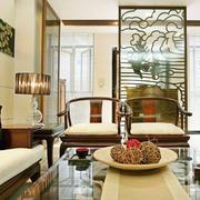 中式风格大户型客厅阳台隔断设计效果图