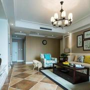 美式田园风格大户型客厅照片墙效果图赏析