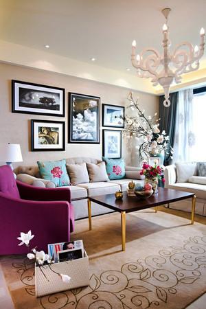 现代美式风格大户型客厅照片墙效果图赏析