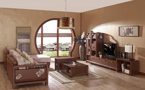 中式风格客厅花梨木家具效果图鉴赏