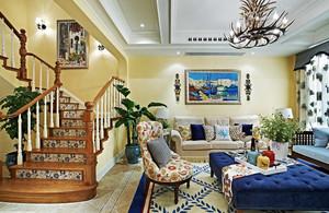 地中海风格复式楼客厅转角楼梯设计效果图鉴赏