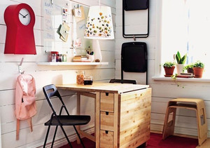 都市小清新风格小户型餐厅折叠餐桌效果图鉴赏