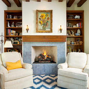 135平米美式田园风格客厅壁炉效果图赏析