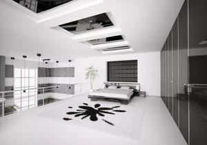 现代简约风格一居室黑白卧室装修效果图鉴赏