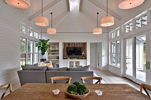 美式简约风格自建别墅客厅吊顶效果图鉴赏