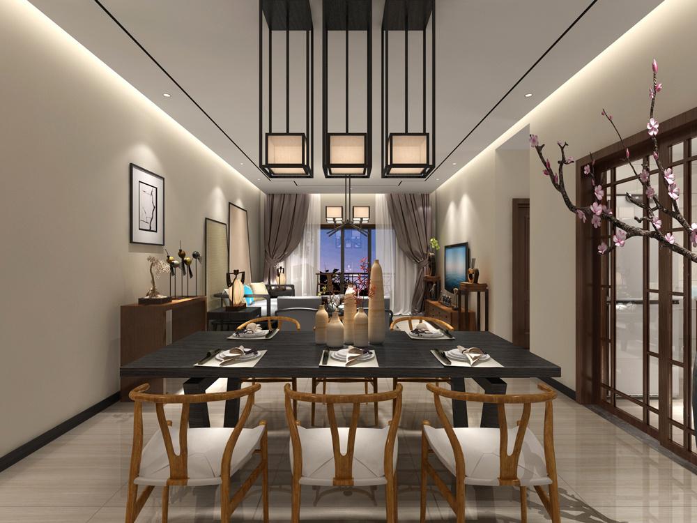 现代中式风格四居室客厅餐厅装修效果图鉴赏图片