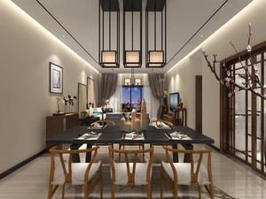 现代中式风格四居室客厅餐厅装修效果图鉴赏
