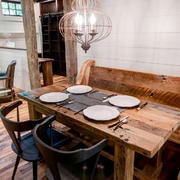 美式乡村风格小户型餐厅实木餐桌效果图赏析