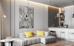 50平米现代简约风格男生公寓室内装修效果图赏析