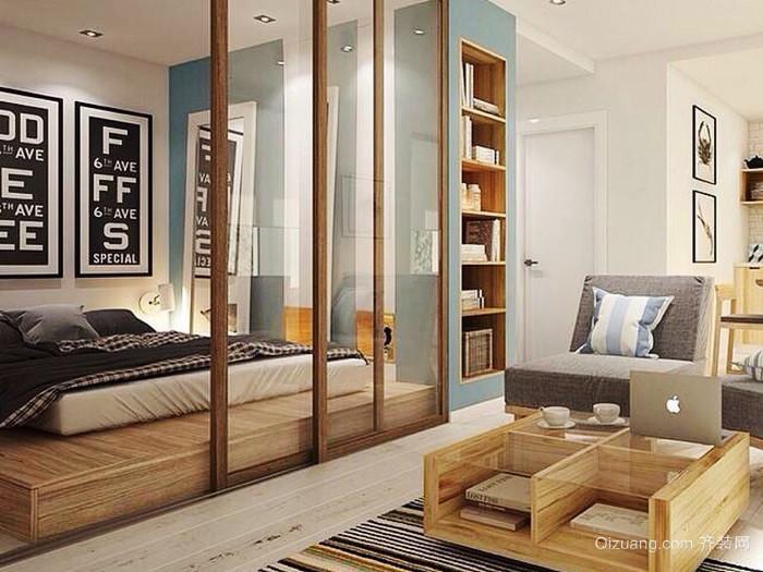 北欧风格一居室客厅卧室隔断设计效果图赏析