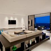 现代简约风格大户型客厅带阳台装修效果图赏析