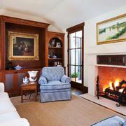美式风格三居室客厅壁炉效果图赏析