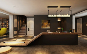 后现代简约风格复式楼创意吧台装修效果图