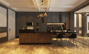后现代简约风格别墅室内开放式厨房餐厅装修效果图