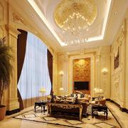 欧式宫廷风格别墅室内客厅吊顶装修效果图赏析
