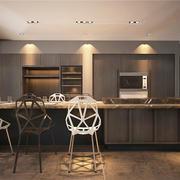 后现代极简主义风格开放式厨房吧台装修效果图