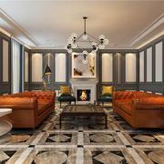 后现代风格时尚混搭复式楼客厅壁炉装修效果图赏析