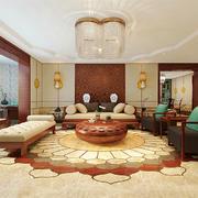 东南亚简约风格大户型室内客厅带阳台装修效果图
