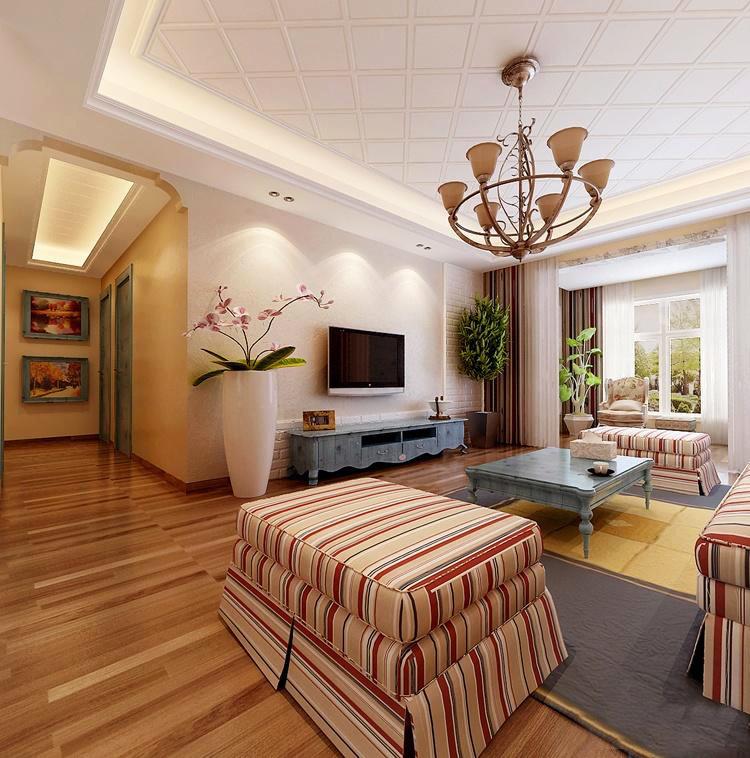大户型欧式简约田园风格客厅窗帘装修效果图赏析