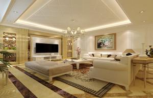 136平米简欧风格客厅大理石电视背景墙装修效果图