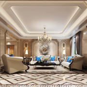 欧式风格别墅室内客厅吊顶设计装修效果图赏析