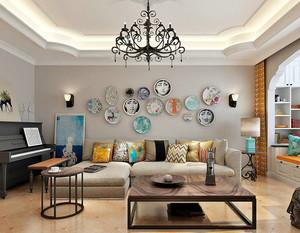 26平米北欧风格客厅沙发背景墙装修效果图