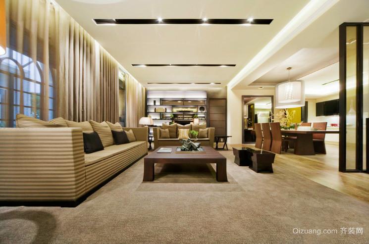 156平米现代简约风格客厅餐厅一体吊顶装修效果图赏析