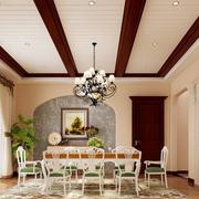 美式田园风格别墅室内餐厅吊顶设计装修效果图
