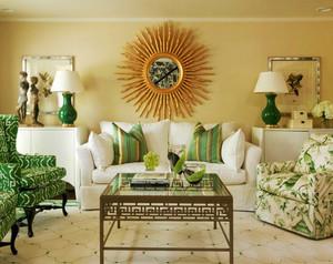 现代简约美式风格客厅沙发背景墙设计装修效果图