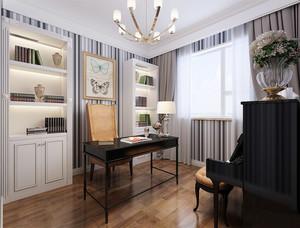 16平米现代简约美式风格书房窗帘装修效果图