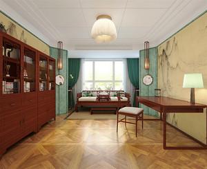 30平米现代简约中式风格书房榻榻米设计装修效果图
