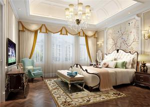 欧式风格别墅室内卧室窗帘设计装修效果图