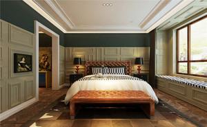 36平米仿古美式风格卧室飘窗装修效果图