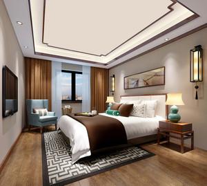 简约东南亚风格卧室窗帘设计效果图