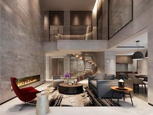 后现代简约风格复式楼客厅旋转楼梯装修效果图
