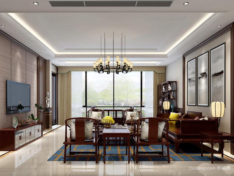中式风格客厅红木沙发背景墙设计装修效果图