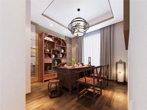 12平米中式风格书房博古架装修效果图赏析