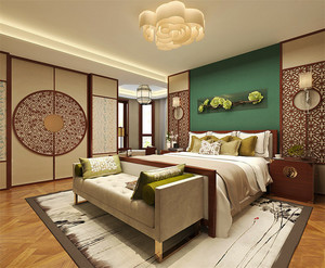 20平米中式风格卧室背景墙装修效果图赏析