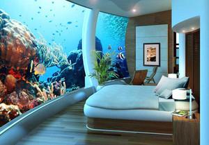 36平米现代风格海洋主题酒店客房设计装修效果图