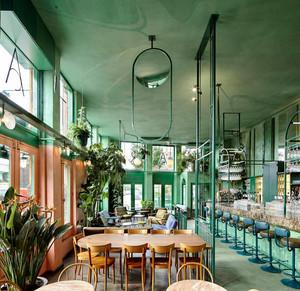 60平米都市简约清新风格咖啡厅设计装修效果图