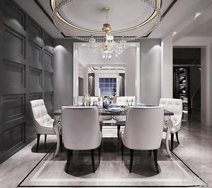 大户型简欧风格餐厅圆形吊灯装修效果图赏析