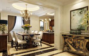 复古欧式风格别墅室内餐厅设计装修效果图