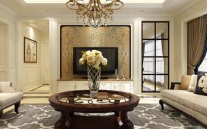 简欧风格三居室室内客厅电视背景墙装修效果图