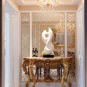 复古欧式风格别墅室内玄关镂空隔断设计装修效果图