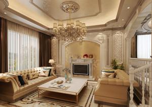 巴洛克风格别墅室内客厅壁炉设计装修效果图赏析