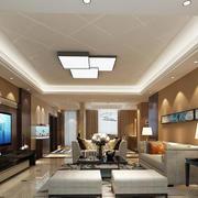 现代简约风格大户型客厅餐厅一体吊顶装修效果图赏析