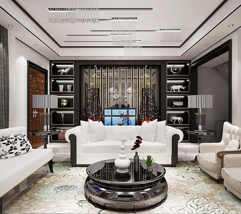 现代精致风格大户型客厅地毯设计装修效果图